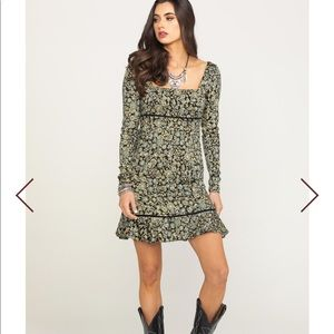 NWT Free People Boheme Mini Dress Size 12 Black
